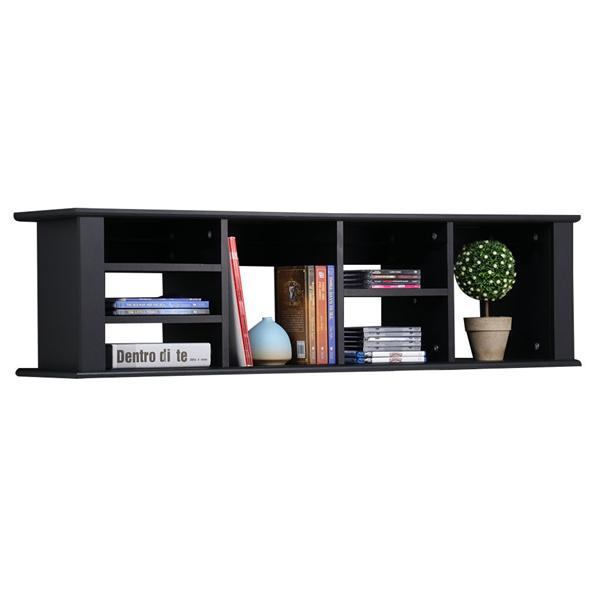 Yaheetech Wall Mounted Hanging Hutch Floating Media Storage Cabinet w/7 Storage Compartments (Black)