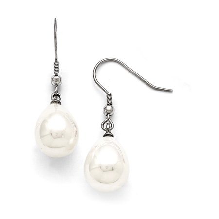 Stainless Steel Shell Bead Dangle Polished Shepherd Hook Earrings