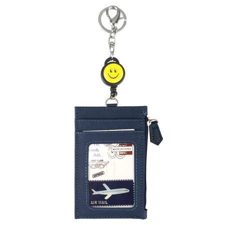 Business Credit ID Badge Card Holder with Zipper and 4 Card Slots, Money Clip Wallet, Coin Purse Retractable Reel Keychain