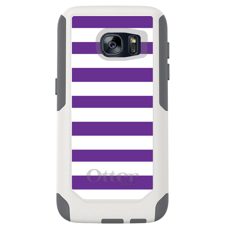 DistinctInk™ Custom White OtterBox Commuter Series Case for Samsung Galaxy S7 - Purple & White Bold Stripes