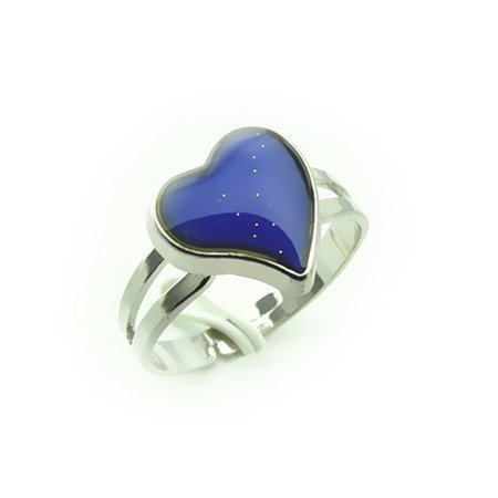 Heart Shaped Crystal Ring (Adjustable Heart Shaped Color Change Emotion Feeling Mood Ring Finger Ring )