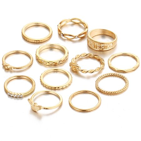 12pcs Knuckle Rings Set, Stylish Retro Carved Alloy Multiple Sizes Finger Rings Set for Women Girls, Gold