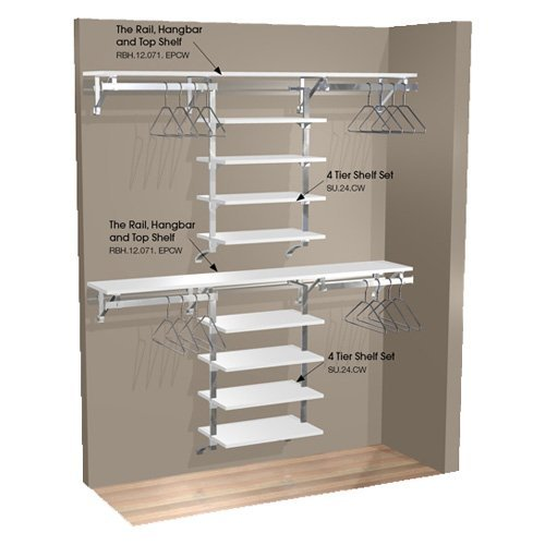 Arrange A Space 71 in. Double Hang Wall Closet with 8 Shelves