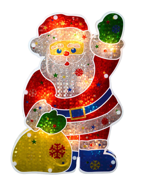 Set Of 2 Light Up Santa With Sleigh Christmas Window