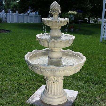 Sunnydaze 3-Tier Pineapple Outdoor Garden Fountain, White, 51 Inch Tall ()