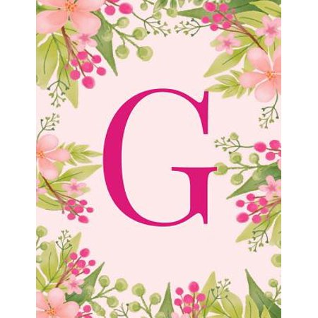 - G : Monogram Initial G Notebook Pink Floral Hawaiian Haze Composition Notebook - Wide Ruled, 8.5 X 11, 110 Pages: Journal, Diary, for Women, Girls, Teens and School