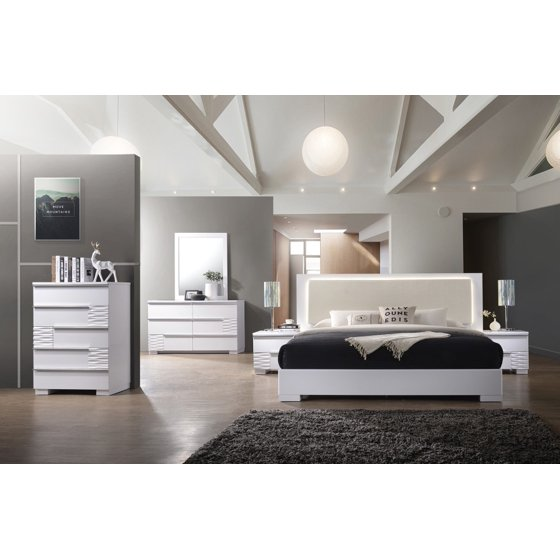 Athen Modern Queen White Lacquer Bed Dresser Mirror Nightstand 4pcs Set Bedroom Furniture