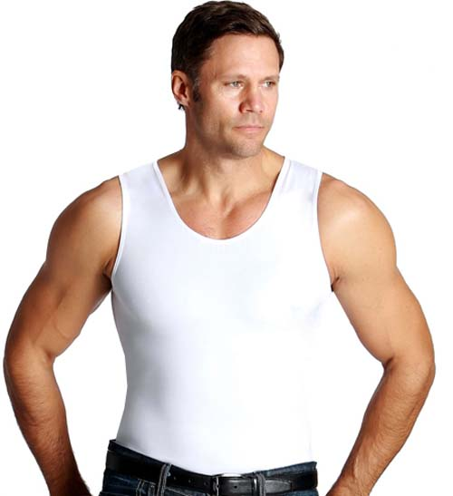 Insta Slim Men's White Compression Muscle Tank Shirt (Medium)