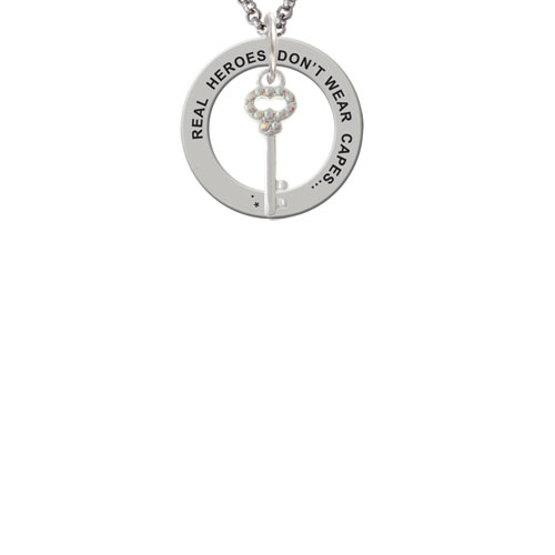 Silvertone Small Clear AB Crystals Oval Key Real Heroes Teach Affirmation Ring Necklace by Delight and Co.