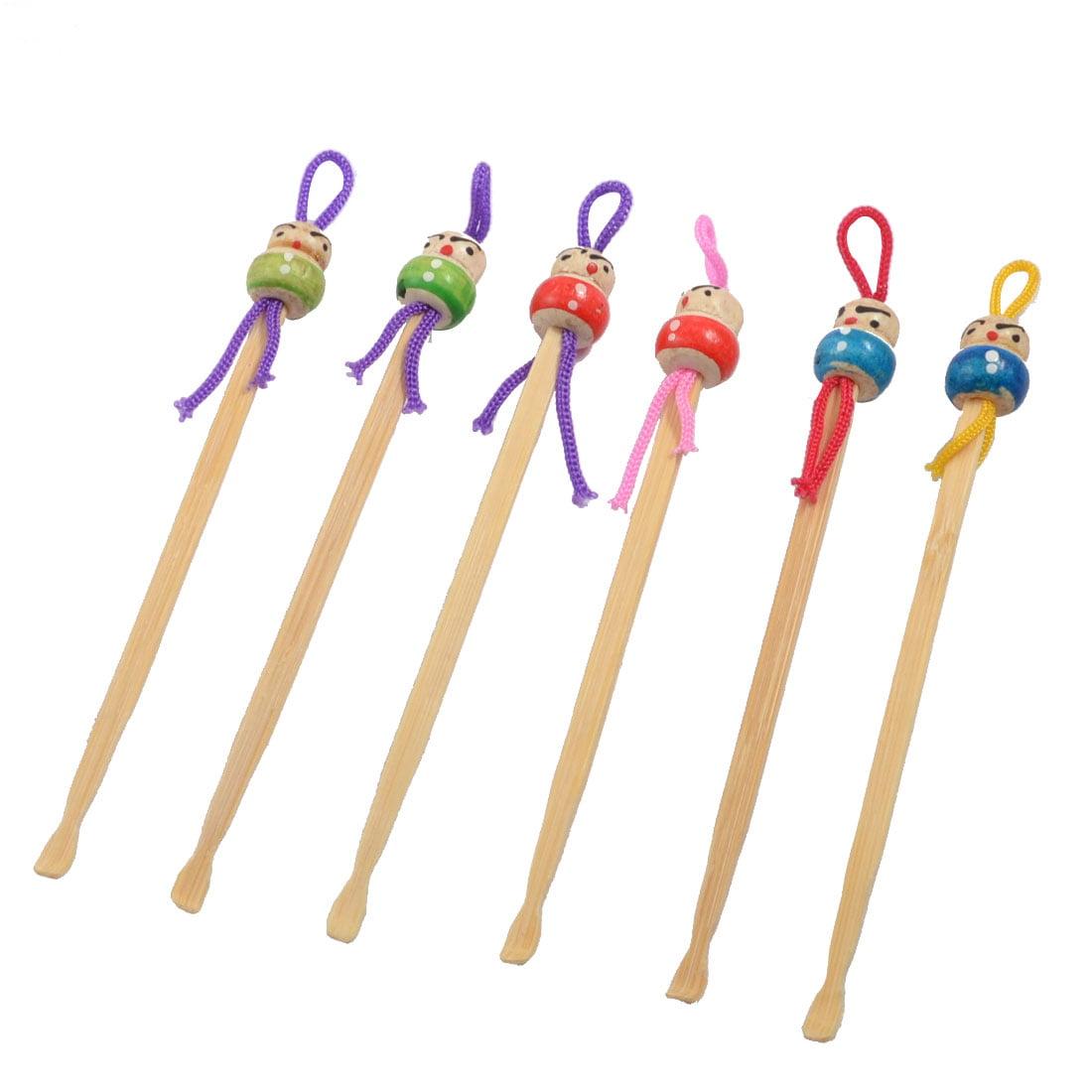 Bamboo Ear Pick Spoon Curette Ear Wax Remover Cartoon Doll Decor 6 Pcs