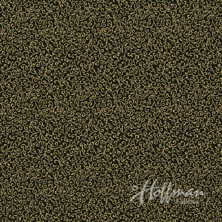 Clearance Sale~Cardinal Carols~Scrolls-Hunter/Gold Christmas Cotton Fabric by Hoffman (Hunter Clearance Sale)