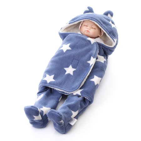 11f5315d89e Winter Hooded Baby Sleeping Bags Polar Fleece Swaddle for Newborn ...