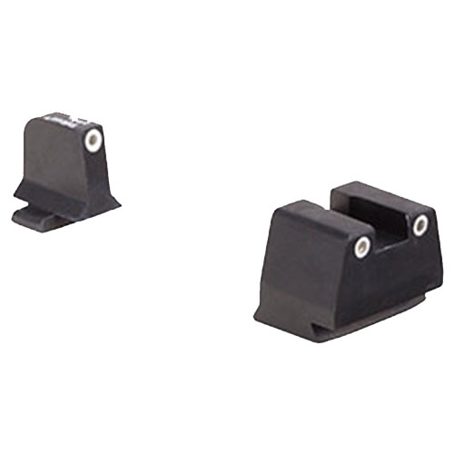 Click here to buy Trijicon Bright and Tough Night Sight Suppressor Set FNH Models FNX-45 and FNP-45, White Front Rear with Green Lamps by Trijicon.