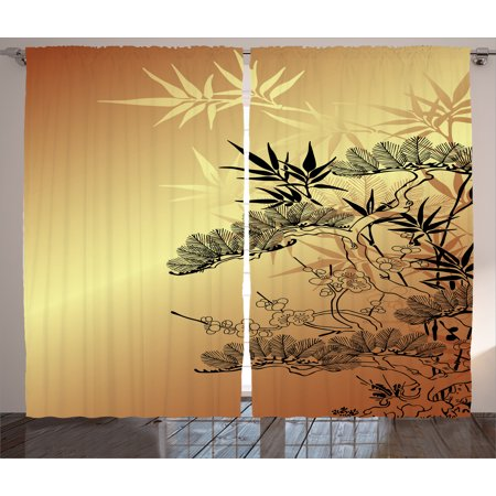 Japanese Decor Curtains 2 Panels Set Asian Branches And