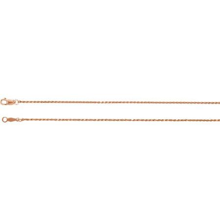 - 14K Rose Gold 1mm Diamond-Cut Rope 18
