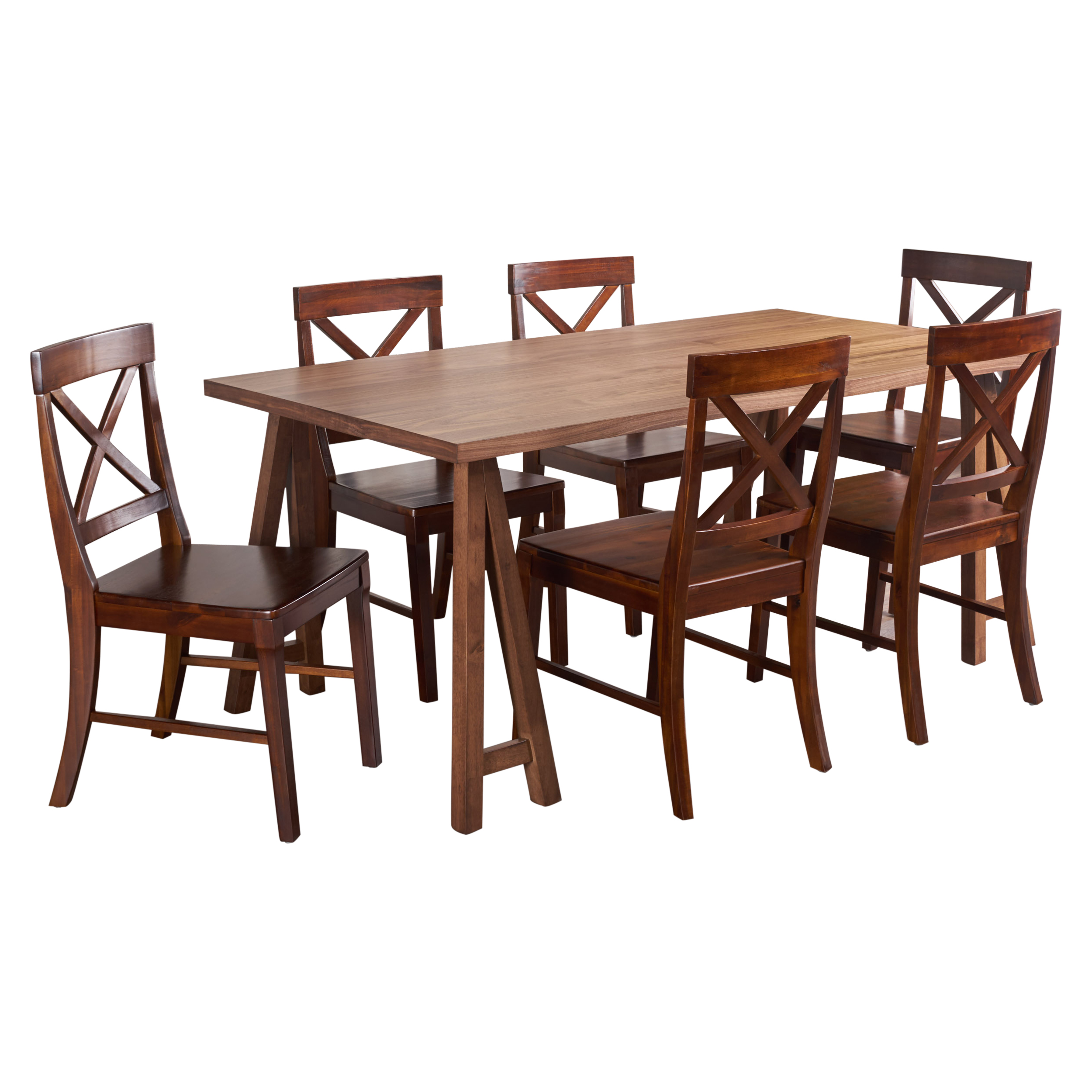 Sambora Farmhouse Natural Walnut Dining Set with Dining Chairs, Rich Mahogany
