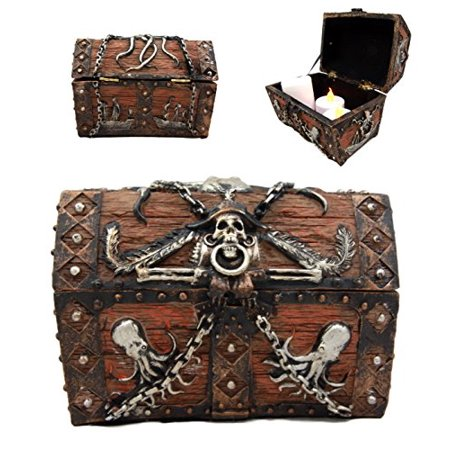 Atlantic Collectibles Caribbean Kraken Octopus Pirate Haunted Chained Skull Treasure Chest Box Jewelry Box Figurine 5