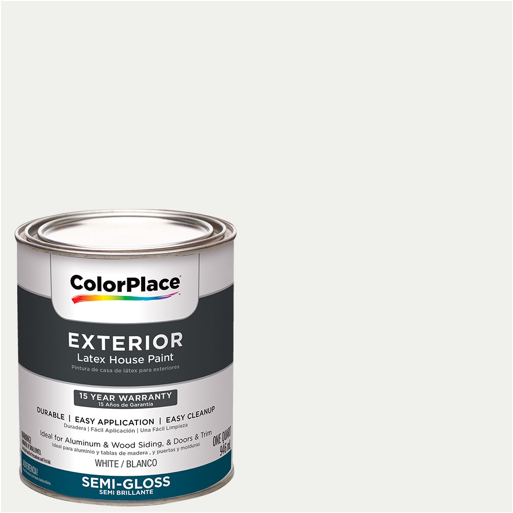ColorPlace, Exterior Paint, White, Semi-Gloss, 1 Quart by PPG Architectural Coating Inc