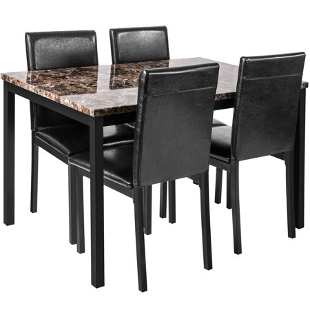 CLEARANCE! 5 Piece Dining Table Sets, Metal Dinette Set Faux Marble Rectangular Breakfast Table with Metal Legs & Black Finish Frame, Dining Table & Chairs for Apartment or Breakfast Nook, S12524 ()