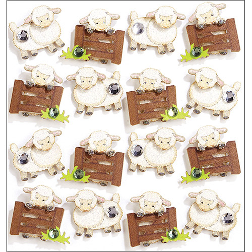 Jolees Boutique Repeats Dimensional Stickers, Sheep Multi-Colored