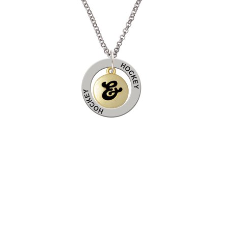 Capital Gold Tone Letter       Pebble Disc   Lucky Dog Affirmation Ring Necklace