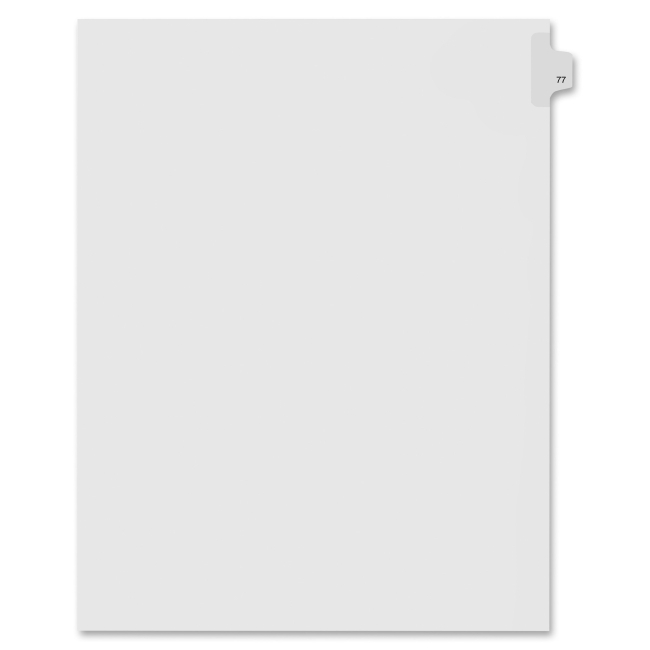 Index Dividers,Number 77,Side Tab,1/25 Cut,Letter,25/PK,WE KLF91077