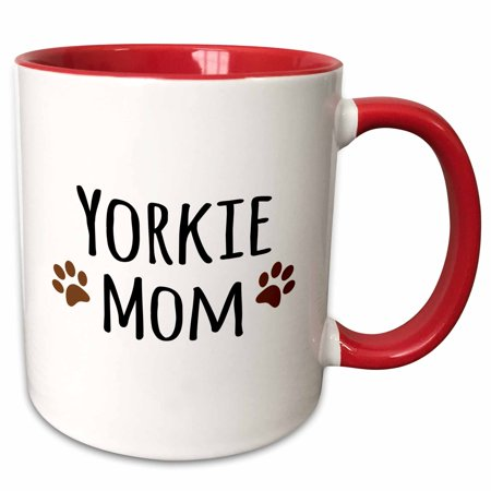 3dRose Yorkie Dog Mom - Yorkshire Terrier - Doggie by breed - doggy lover brown paw prints - mama pet owner - Two Tone Red Mug, 11-ounce