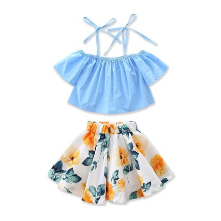 Fashion Infant Kid Baby Girls Off Shoulder Floral Tops Skirt Dress Outfit Summer