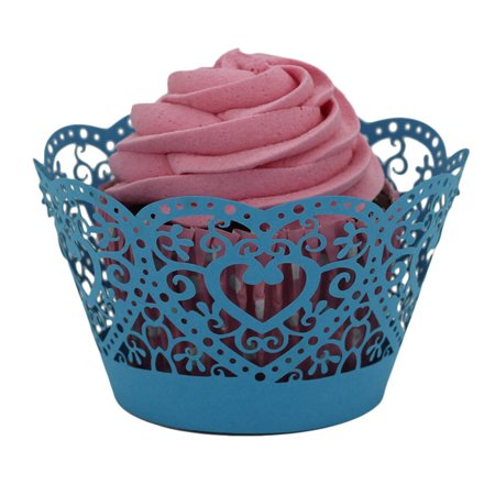 25pc Christmas Lace Laser Cut Cupcake Wrapper Liner Baking Cup Muffin Blue