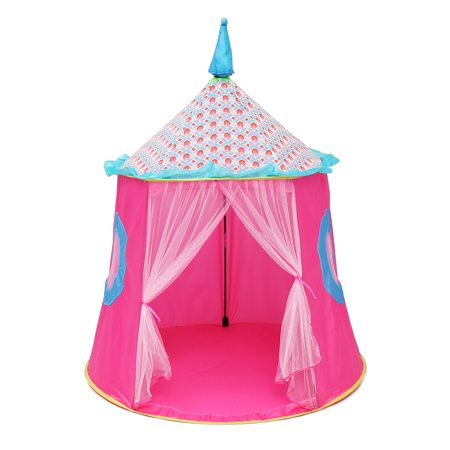Princess Castle kiddey little princess castle play tent (pink) glow in the dark stars indoor/outdoor playhouse for girls, promotes early learning, social bonding and imaginative