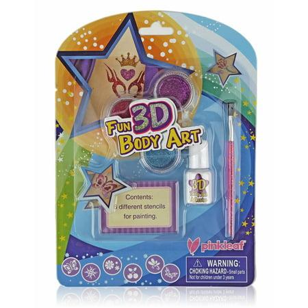 Pinkleaf 3D Glitter Tattoos & Body Art Kit For Boys & Girls, Indoor/Outdoor Fun