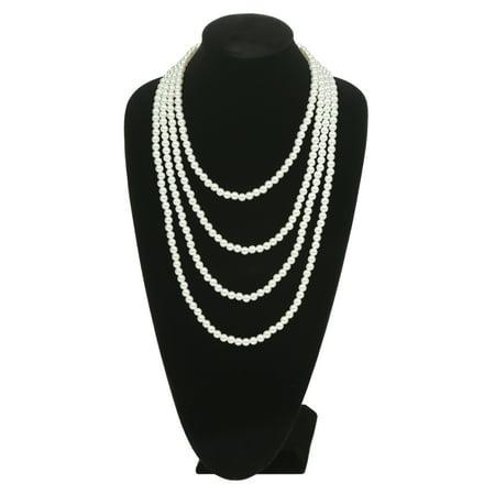 Multi Strand Pearl Flapper - Multi Strand Pearl Necklace