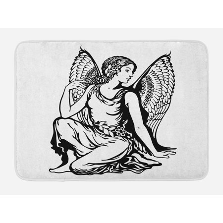 Zodiac Virgo Bath Mat, Young Woman Artistic Figure with Angel Wings Monochrome Tattoo Art Design, Non-Slip Plush Mat Bathroom Kitchen Laundry Room Decor, 29.5 X 17.5 Inches, Black and White, Ambesonne