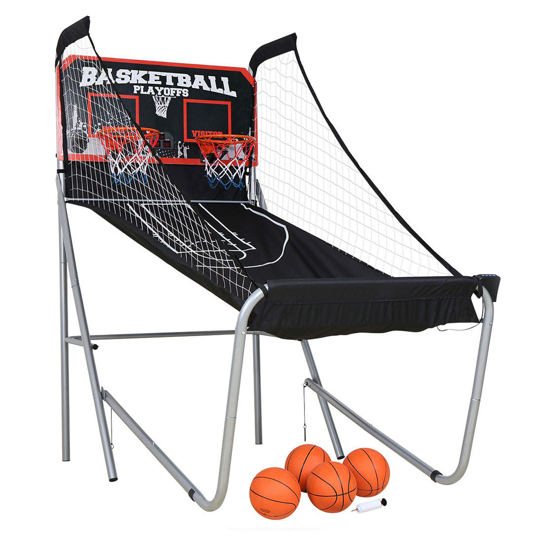 Sports Double Shot Indoor Electronic Shooting Machine, Two Players Basketball Stand Arcade Electronic Basketball System