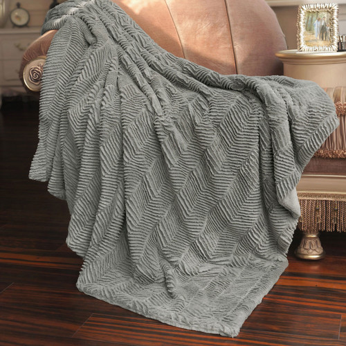 BOON Throw & Blanket Herringbone Faux Fur Throw Blanket