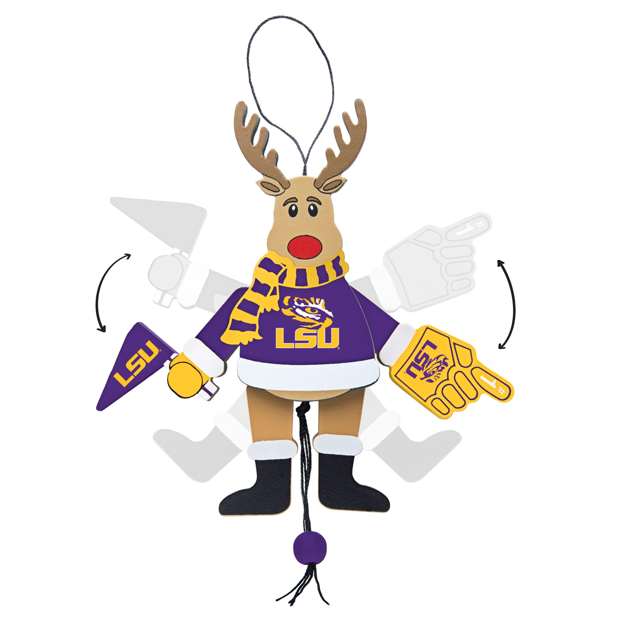 Topperscot by Boelter Brands NCAA Wooden Cheering Reindeer Ornament, LSU Tigers