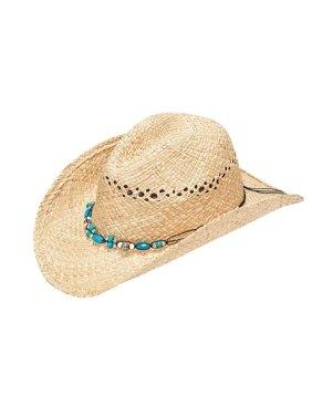 Blazin Roxx 7101848-L Ladies Raffia Stone Tied Band Fashion Straw Hat, Natural - Large