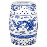 Safavieh Dragon's Breath Chinoiserie Garden Patio Stool, Blue