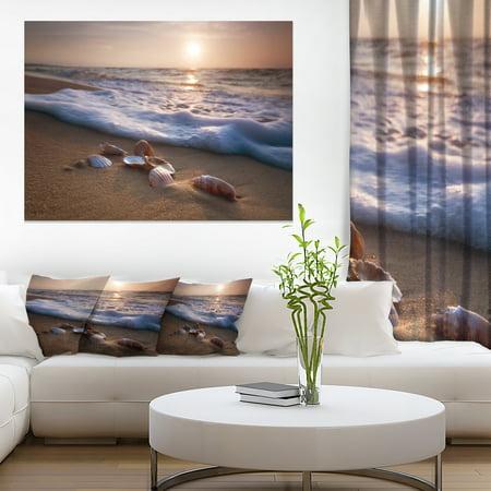 Waves Approaching Seashells on Sand - Beach Photo Canvas Print - image 3 de 3