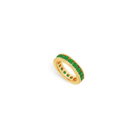 May Birthstone Created Emerald Eternity Band Yellow Gold Vermeil 3 CT TGW Third Wedding Annivers - image 2 of 2