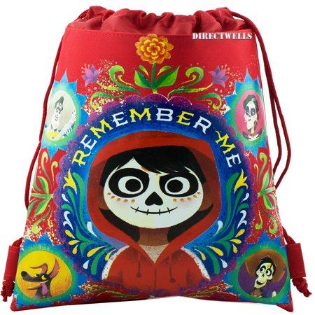 Disney Coco Licensed Red Drawstring Bag (Best Bag To Take To Disney)
