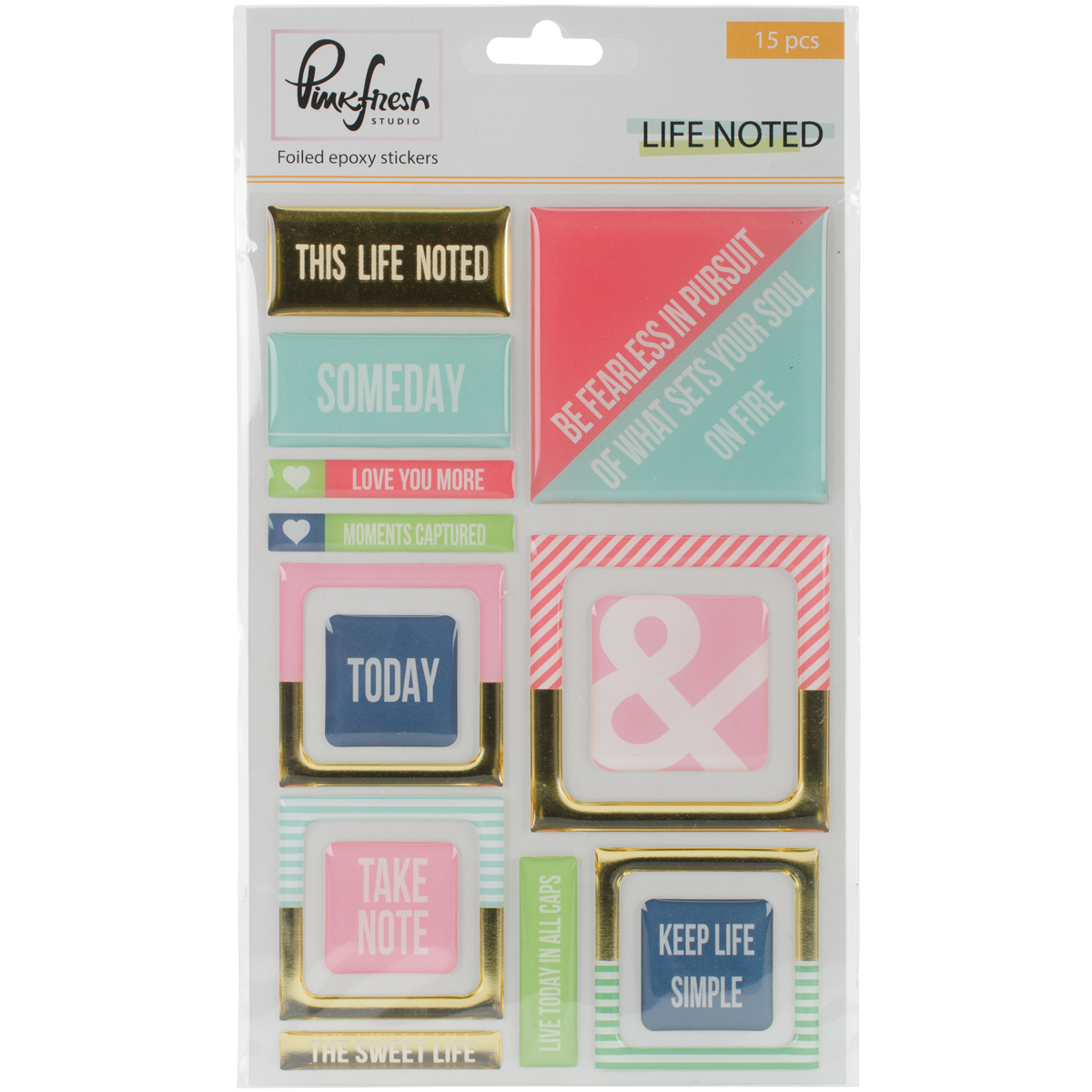 "Life Noted Epoxy Stickers 4""X6""-Gold Foil"