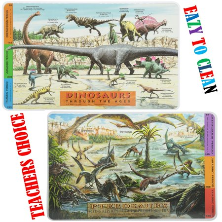 Painless Learning Placemats Dinosaurs And Pterosaurs Bundle Non Slip -