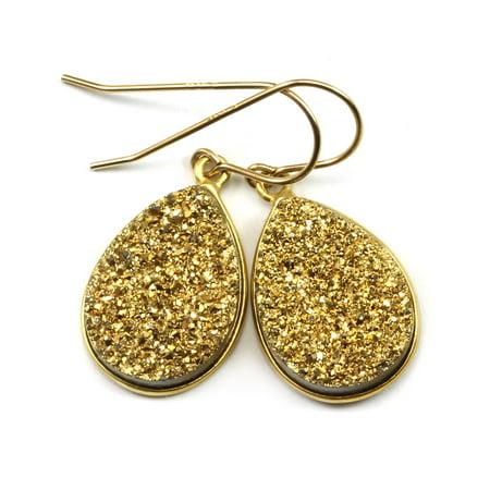 Drusy Earrings 14k Gold Filled Large Teardrops Golden Druzy Sparkle Bezel Setting French Hook Earwires Spygl