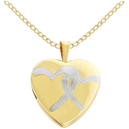 16mm Gold-Plated Double Hearts with Rhodium Heart Locket, 18