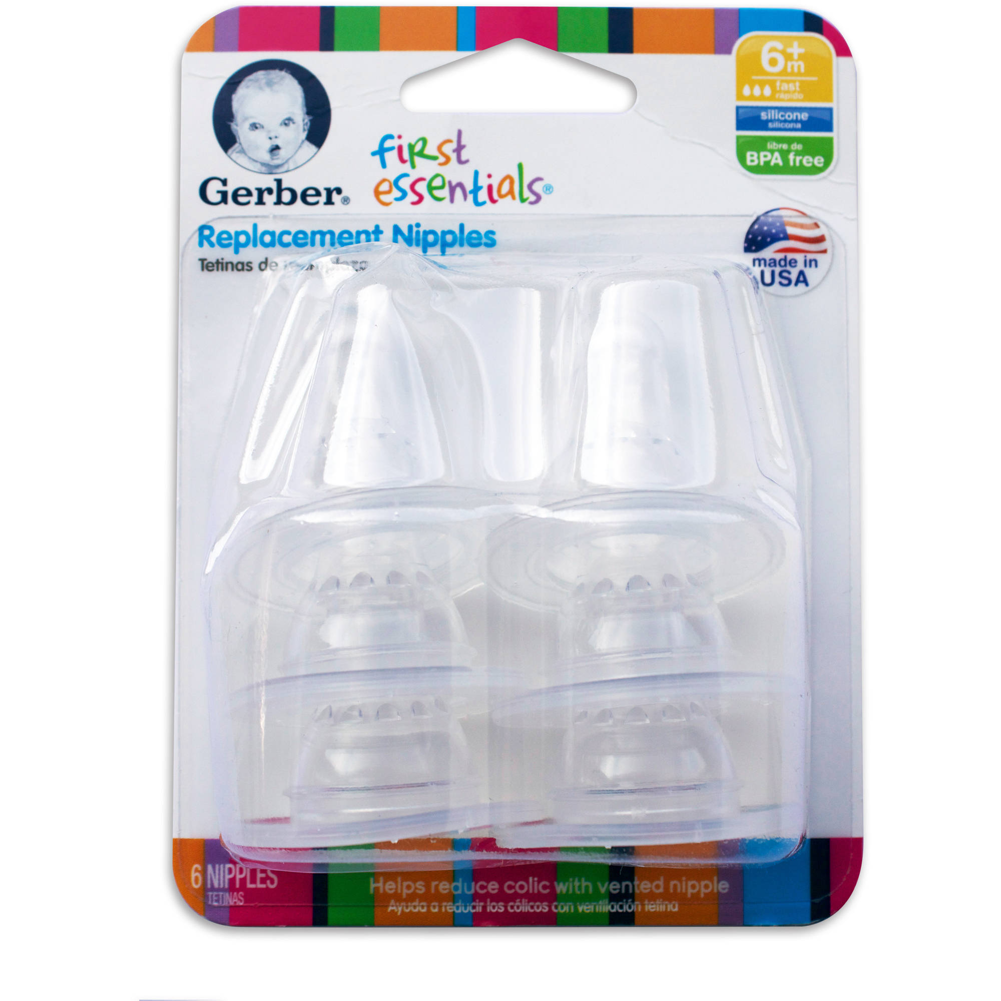 Gerber First Essentials Fast Flow Silicone Nipples, BPA-Free, 6pk