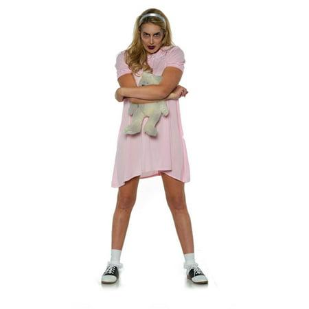 Creepy Girls Halloween Costumes (Eerie Womens Adult Creepy Toy Doll Pink Little Girl Halloween Costume)