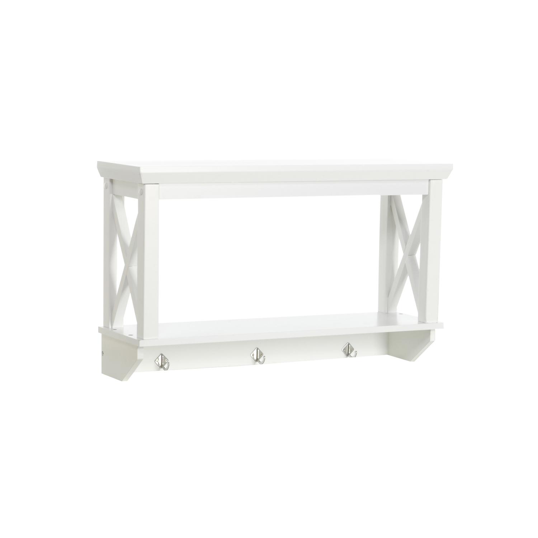RiverRidge X-Frame Wall Shelf with Hooks, White