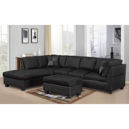 Master Furniture Sectional Sofa Modern Fabric Microfiber Faux Leather Sectional Sofa 3PC: Black Color