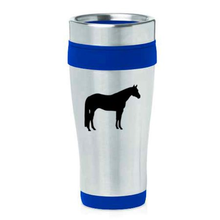 16 oz Insulated Stainless Steel Travel Mug Quarter Horse (Blue) - Horse Travel Mugs